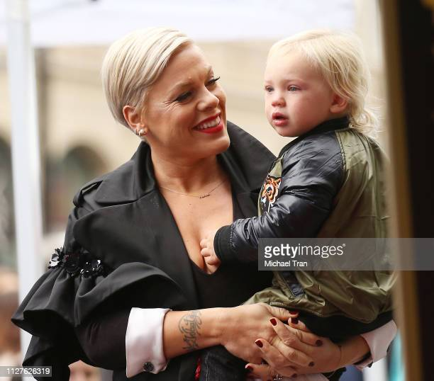 Alecia Beth Moore aka Pink with her son, Jameson Moon Hart attend the ceremony honoring Pink with a Star on The Hollywood Walk of Fame held on...