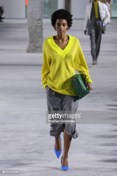 Alecia Morais walks the runway wearing Tibi Fall 2018 with makeup by Sarah Lucero and hair by Frank Rizzieri at Pier 17 on February 11 2018 in New...