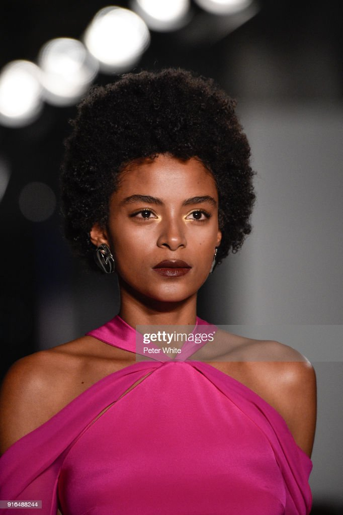 Alecia Morais walks the ruway at Cushnie Et Ochs Fashion Show during New York Fashion Week at Pier 17 on February 9, 2018 in New York City.