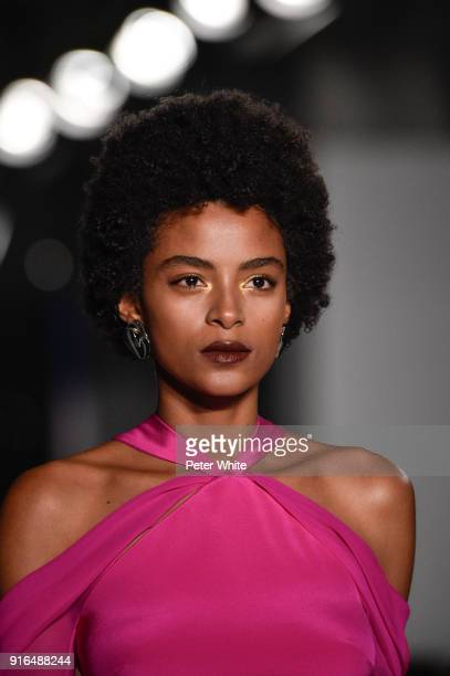 Alecia Morais walks the ruway at Cushnie Et Ochs Fashion Show during New York Fashion Week at Pier 17 on February 9 2018 in New York City