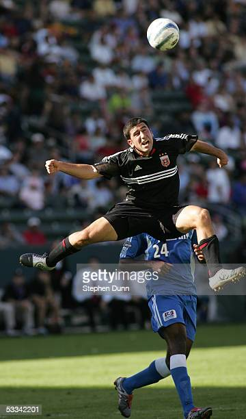 Alecko Eskandarian of DC United heads the ball against the Kansas City Wizards during the MLS Cup on November 14 2004 at the Home Depot Center in...