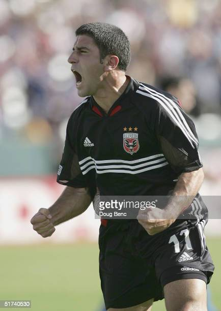 Alecko Eskandarian#11 of the DC United celebrates his first goal against the Kansas City Wizards in the first inning during the MLS Cup on November...