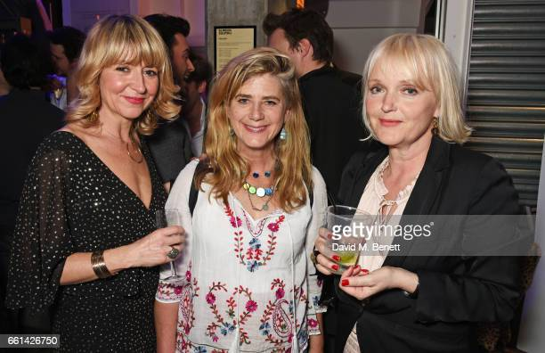 Alecky Blythe Imogen Stubbs and Miranda Richardson attend 'Brave New Works The Almeida Fundraising Gala 2017' at The Almeida Theatre on March 30 2017...