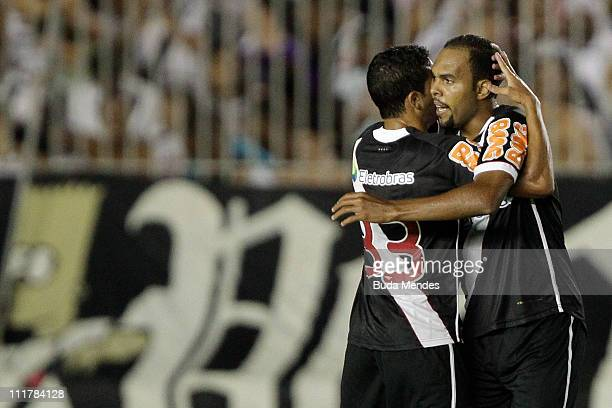 Alecsandro and Ramon of Vasco celebrate scored goal during a match as part of Brazil Cup 2011 at Sao Januario stadium on April 06, 2011 in Rio de...