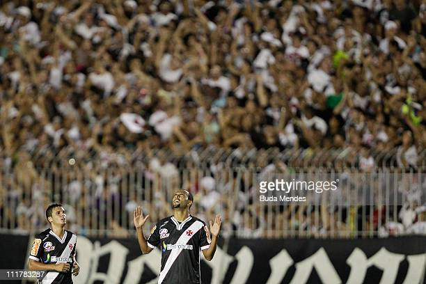 Alecsandro of Vasco celebrates scored goal during a match as part of Brazil Cup 2011 at Sao Januario stadium on April 06, 2011 in Rio de Janeiro,...