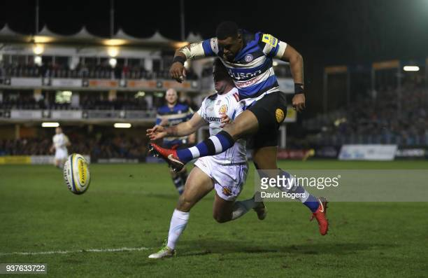 Aled Brew of Bath clears the ball to touch during the Aviva Premiership match between Bath Rugby and Exeter Chiefs at the Recreation Ground on March...
