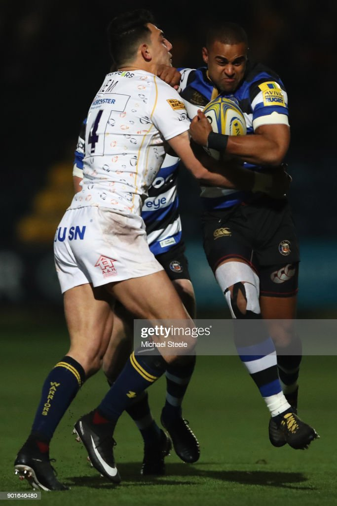 Aled Brew of Bath is tackled by Bryce Heem of Worcester during the Aviva Premiership match between Worcester Warriors and Bath Rugby at Sixways Stadium on January 5, 2018 in Worcester, England.