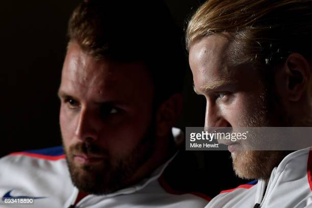 Aled Davies and Jonnie Peacock look on during the announcement of the british athletics team for the World Para Athletics Championships at Olympic...