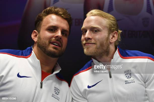 Aled Davies and Jonnie Peacock pose during the announcement of the british athletics team for the World Para Athletics Championships at Olympic...