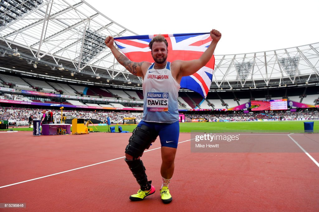 Aled Davies of Great Britain celebrates victory in the Men's Discus Throw F42 Final during day three of the IPC World ParaAthletics Championships 2017 at the London Stadium on July 16, 2017 in London, England.