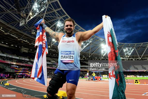 Aled Davies of Great Britain celebrates winning gold in the final of the mens shot put F42 on day nine of the IPC World ParaAthletics Championships...
