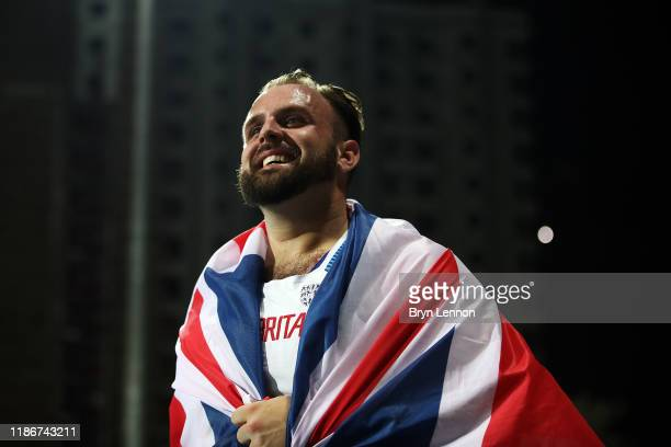 Aled Davies of Great Britain celebrates winning the Men's F63 Shot Put on Day Four of the IPC World Para Athletics Championships 2019 Dubai on...