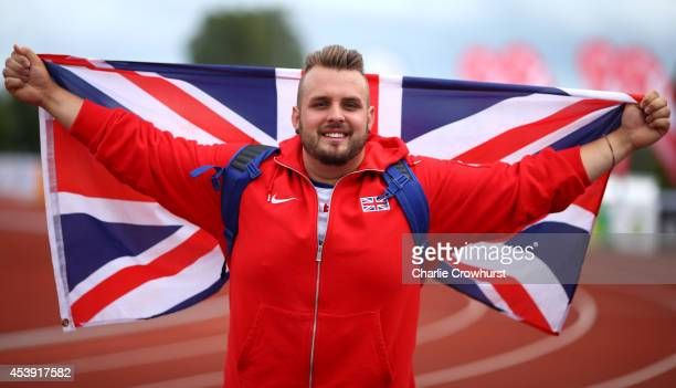 Aled Davies of Great Britain celebrates winning the mens shot put F42 final during day three of the IPC Athletics European Championships at Swansea...