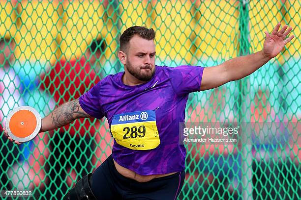 Aled Davies of Great Britain competes in the discus throw finale during the IPC Athletics Grand Prix Berlin 2015 at FriedrichLudwigJahnSportpark on...