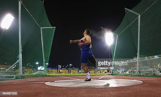 Aled Davies of Great Britain competes in the men's discus F42 final during the Evening Session on Day Seven of the IPC Athletics World Championships...