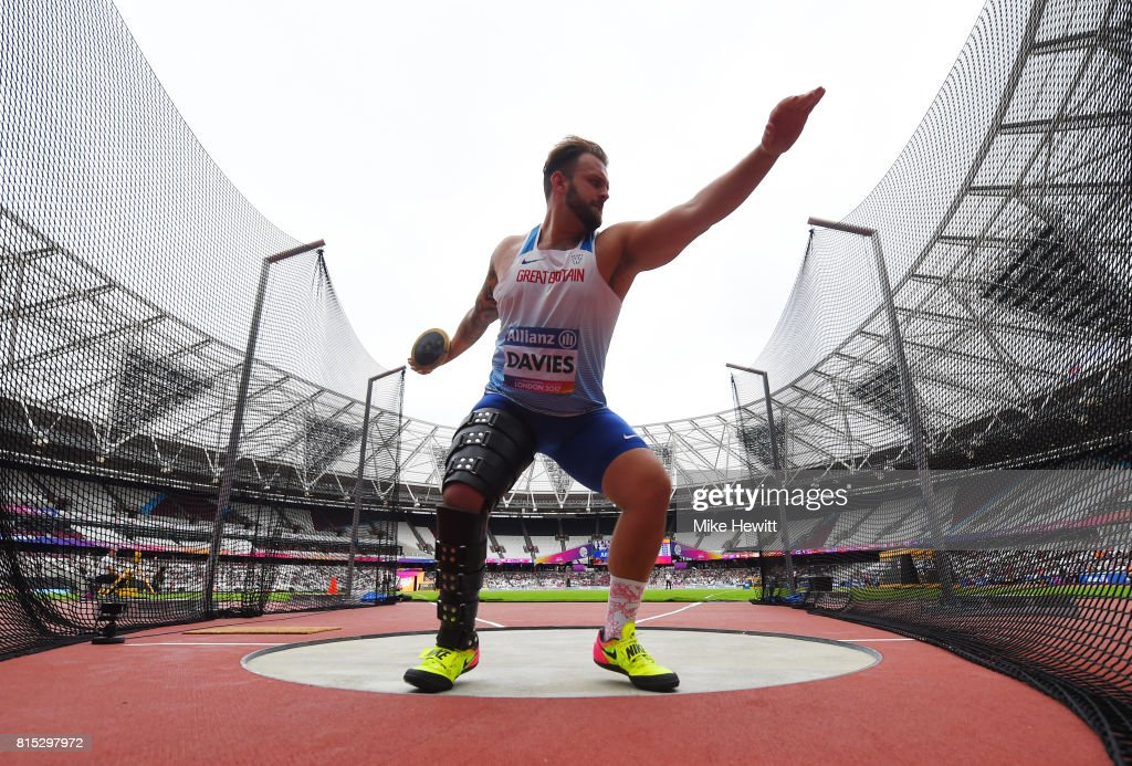 Aled Davies of Great Britain competes in the Men's Discus Throw F42 Final during day three of the IPC World ParaAthletics Championships 2017 at the London Stadium on July 16, 2017 in London, England.