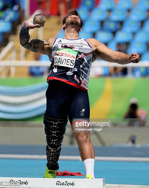 Aled Davies of Great Britain competes in the Men's Shot Put F42 at Olympic Stadium during day 5 of the Rio 2016 Paralympic Games on day 5 of the Rio...