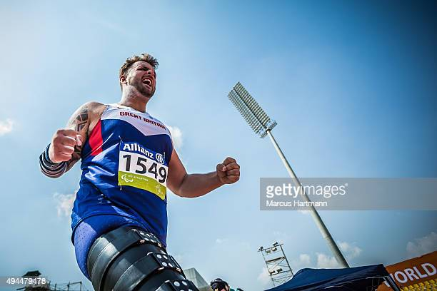 Aled Davies of Great Britain competes in the the men's shot put T42 at Suhaim Bin Hamad Stadium on October 23 2015 in Doha Qatar