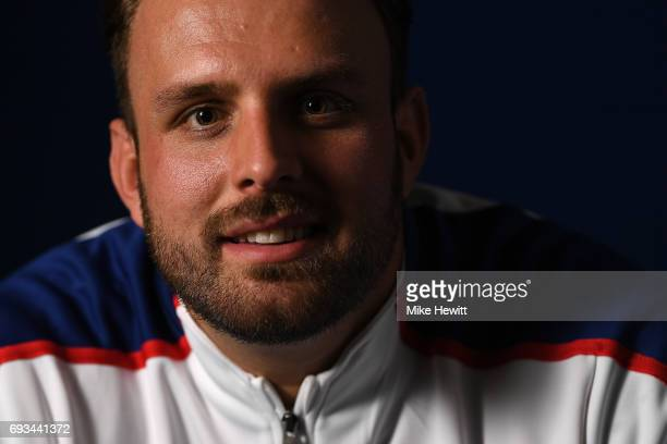 Aled Davies of Great Britain poses for a portrait during the British Athletics team announcement for the World Para Athletics Championships at...