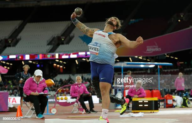 Aled Davies of Great Britain throws on his way to winning gold in the men's shot put F42 final during the World Para Athletics Championships 2017 at...