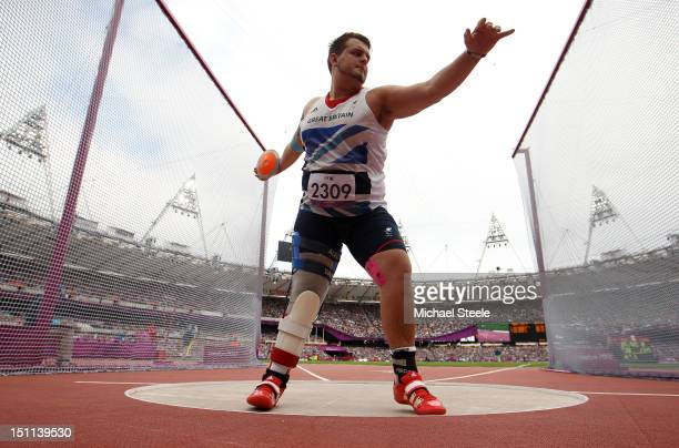 Aled Davies of Great Britain wins gold in the Men's Discus Throw F42 Final on day 4 of the London 2012 Paralympic Games at Olympic Stadium on...