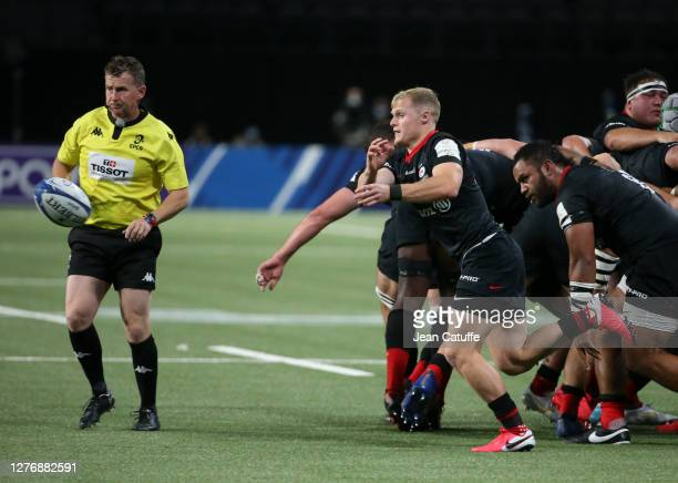 Aled Davies of Saracens during the Heineken Champions Cup Semi Final match between Racing 92 and Saracens at Paris La Defense Arena on September 26...