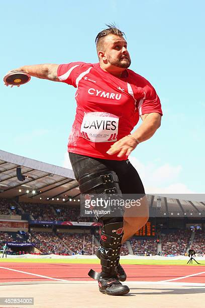 Aled Davies of Wales competes in the Men's F42/44 Discus final at Hampden Park Stadium during day five of the Glasgow 2014 Commonwealth Games on July...