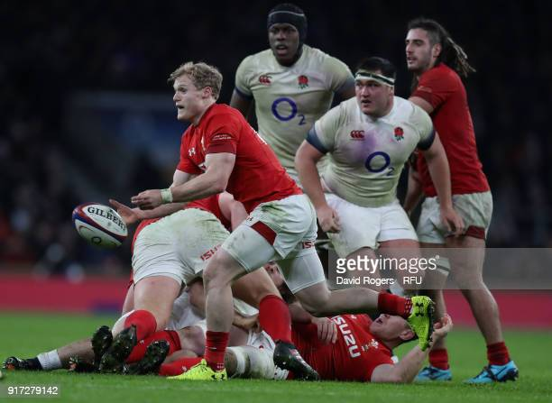 Aled Davies of Wales passes the ball during the NatWest Six Nations match between England and Wales at Twickenham Stadium on February 10 2018 in...