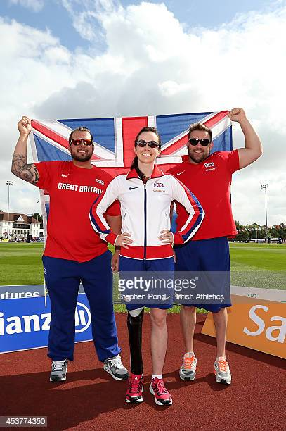 Aled Davies, Stefanie Reid and Dan Greaves of Great Britain pose during a photo call ahead of the IPC Athletics European Championships at Swansea...