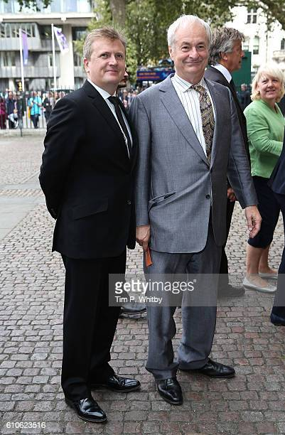 Aled Jones and Paul Gambaccini attend a memorial service for the late Sir Terry Wogan at Westminster Abbey on September 27, 2016 in London, England.