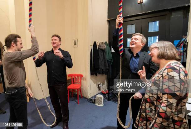 Aled Jones and Russell Watson during a fundraising drive at St Anne's Church Limehouse on December 12 2018 in London England The pair took part in...