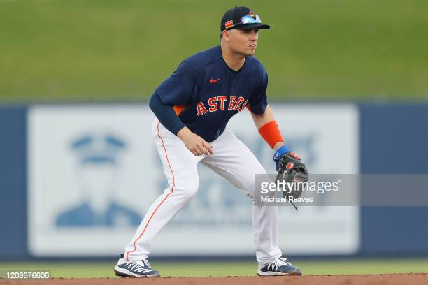 Aledmys Diaz of the Houston Astros in action against the Miami Marlins during a Grapefruit League spring training game at FITTEAM Ballpark of The...