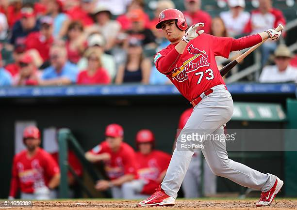 Aledmys Diaz of the St Louis Cardinals at bat during the spring training game against the Miami Marlins on March 5 2016 in Jupiter Florida