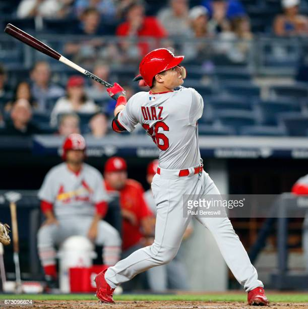 Aledmys Diaz of the St Louis Cardinals bats during an MLB baseball game against the New York Yankees on April 16 2017 at Yankee Stadium in the Bronx...