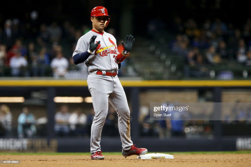 Aledmys Diaz #36 of the St. Louis Cardinals celebrates after hitting a double in the seventh inning against the Milwaukee Brewers at Miller Park on April 20, 2017 in Milwaukee, Wisconsin.