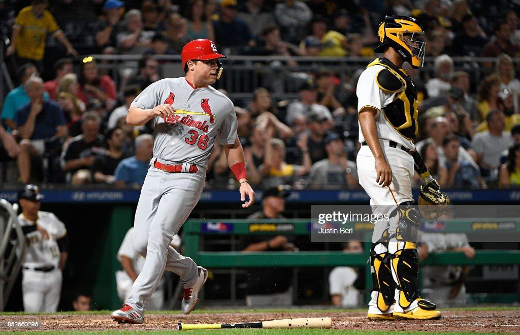 Aledmys Diaz #36 of the St. Louis Cardinals comes around to score on an RBI single by Randal Grichuk #15 in the sixth inning during the game against the Pittsburgh Pirates at PNC Park on September 23, 2017 in Pittsburgh, Pennsylvania.