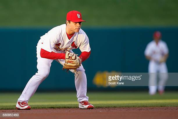 Aledmys Diaz of the St Louis Cardinals covers his position during a baseball game against the Philadelphia Phillies at Busch Stadium on May 3 2016 in...