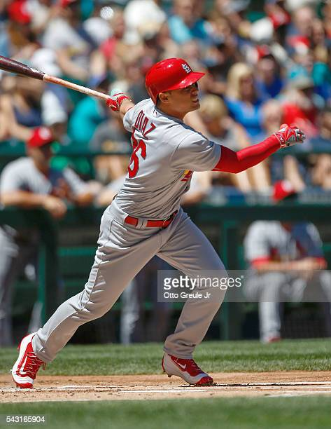 Aledmys Diaz of the St Louis Cardinals hits an RBI double in the first inning against the Seattle Mariners at Safeco Field on June 26 2016 in Seattle...