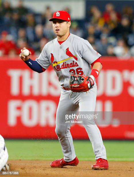 Aledmys Diaz of the St Louis Cardinals in action against the New York Yankees at Yankee Stadium on April 14 2017 in the Bronx borough of New York...