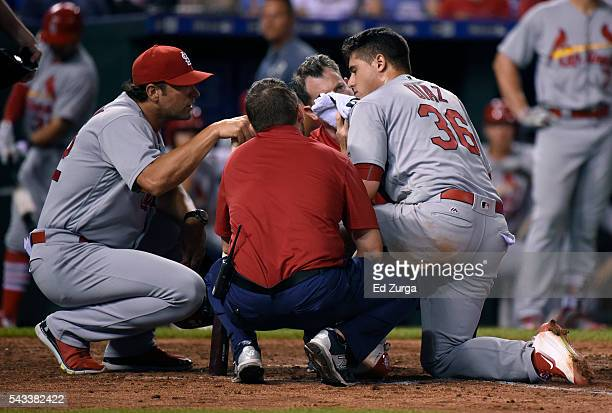 Aledmys Diaz of the St Louis Cardinals is attended to by team trainers and manager Mike Matheny after fouling a ball off the plate that struck him in...