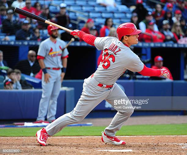 Aledmys Diaz of the St Louis Cardinals knocks in two runs with a ninth inning double against the Atlanta Braves at Turner Field on April 10 2016 in...