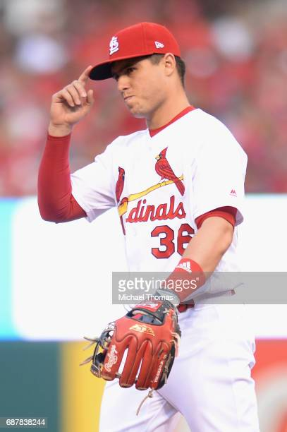 Aledmys Diaz of the St Louis Cardinals prior to a game against the San Francisco Giants at Busch Stadium on May 19 2017 in St Louis Missouri