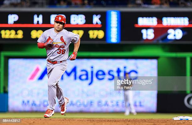 Aledmys Diaz of the St Louis Cardinals runs the bases after hitting a two run home run during the second inning of the game against the Miami Marlins...