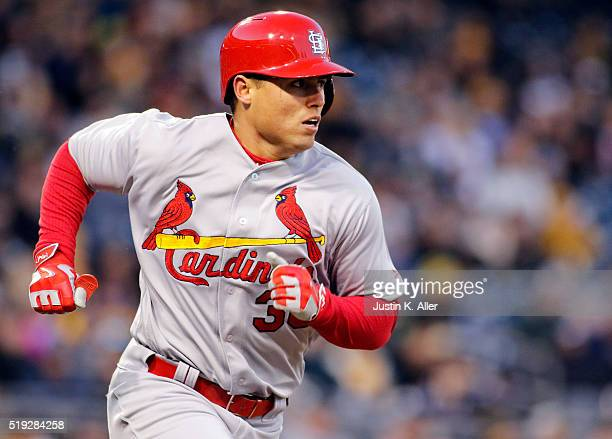 Aledmys Diaz of the St Louis Cardinals runs the bases after recording his first major league hit in the third inning during the game against the...