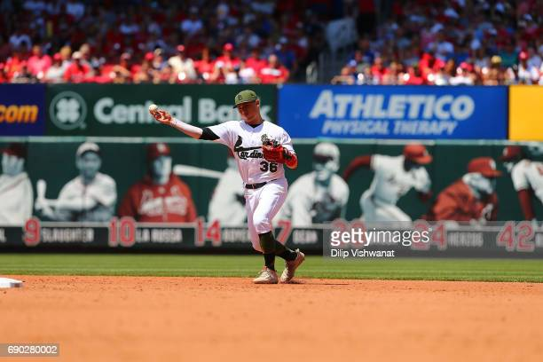 Aledmys Diaz of the St Louis Cardinals throws against the Los Angeles Dodgers at Busch Stadium on May 29 2017 in St Louis Missouri MLB players across...