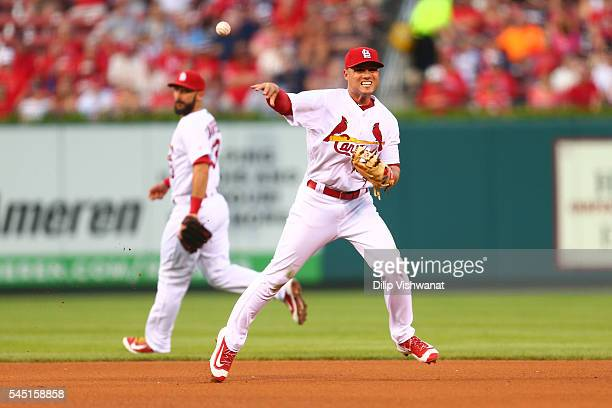 Aledmys Diaz of the St Louis Cardinals throws out a runner against the Pittsburgh Pirates in the third inning at Busch Stadium on July 5 2016 in St...
