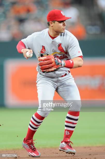 Aledmys Diaz of the St Louis Cardinals throws the ball to first base against the Baltimore Orioles at Oriole Park at Camden Yards on June 16 2017 in...