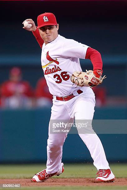 Aledmys Diaz of the St Louis Cardinals throws to first base during the second inning against the Philadelphia Phillies at Busch Stadium on May 3 2016...