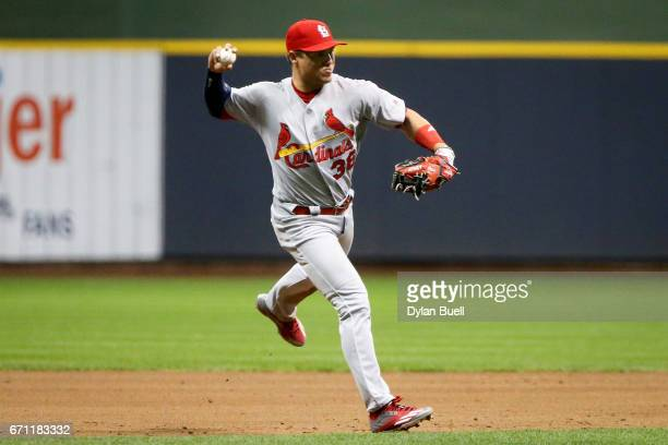 Aledmys Diaz of the St Louis Cardinals throws to first base in the fourth inning against the Milwaukee Brewers at Miller Park on April 20 2017 in...