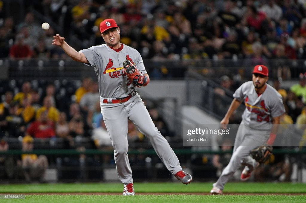 Aledmys Diaz #36 of the St. Louis Cardinals throws to first base to force out Max Moroff #62 of the Pittsburgh Pirates in the seventh inning during the game at PNC Park on September 23, 2017 in Pittsburgh, Pennsylvania.